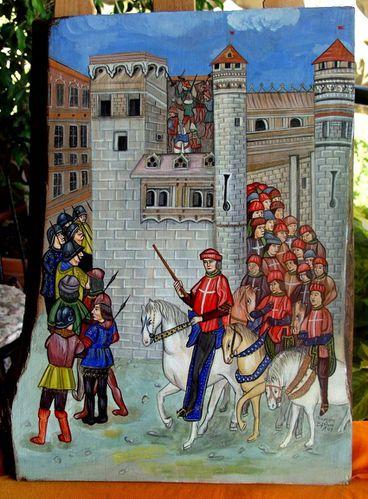 L'ordre des Chevaliers de Rhodes - Pierre d'Aubusson inspecte à cheval les fortifications de la ville