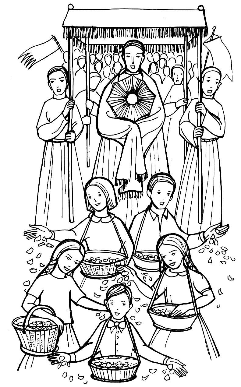 catholic coloring pages for kids free - corpus christi procession catholic coloring page